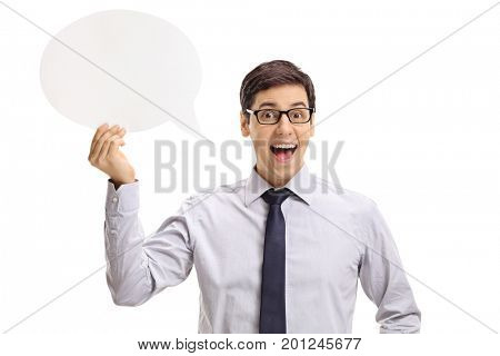 Formally dressed young man holding a chat bubble isolated on white background
