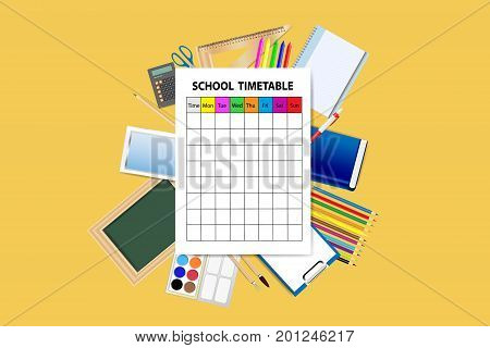 School supplies around the empty school timetable on the yellow background.