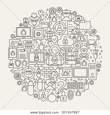 Cyber Security Line Icons Circle. Vector Illustration of Hacker Outline Objects.