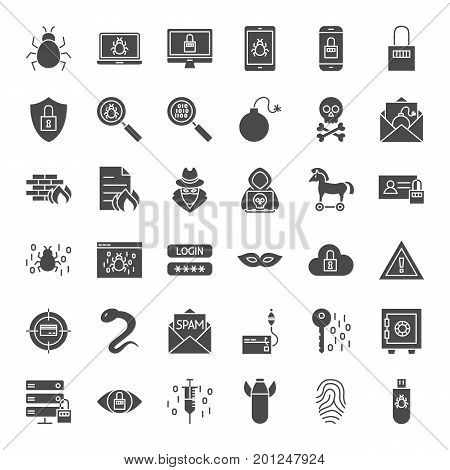 Cyber Security Solid Web Icons. Vector Set of Hacker Glyphs.