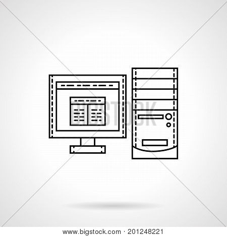 Symbol of desktop computer or PC. Equipment and technology for office, business. Flat black line vector icon.