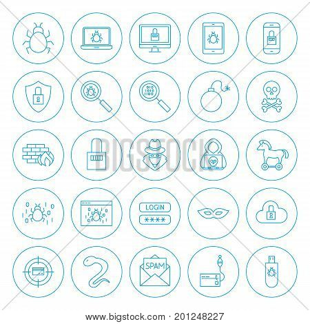 Line Circle Hacker Icons. Vector Illustration of Outline Cyber Crime Objects.