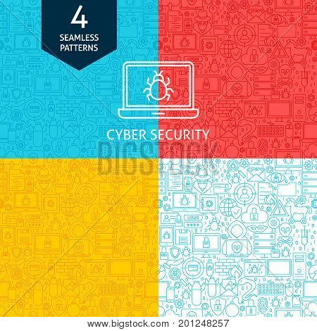 Line Cyber Security Patterns. Four Vector Website Design Seamless Backgrounds.