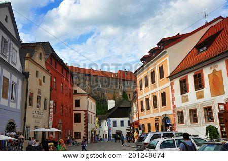 Cesky krumlov Czech republic - July 21 2017: Street with houses in Cesky krumlov UNESCO town in Czech republic