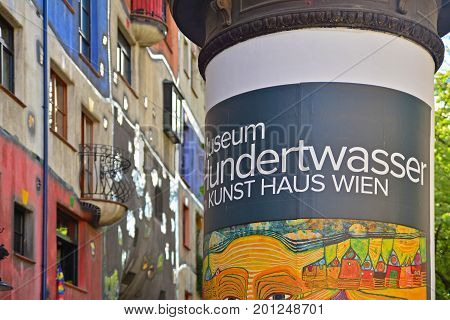 Vienna Austria - April 27 2015: Street advert at the Hundertwasserhaus in Vienna. Shot taken on April 27th 2015