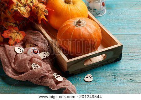 Photo of halloween pumpkin holiday, brown cloth, skulls, eyeballs