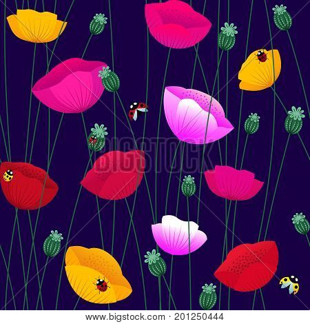 Floral seamless pattern with colorful poppy flowers and ladybugs. Stock vector endless backdrop.