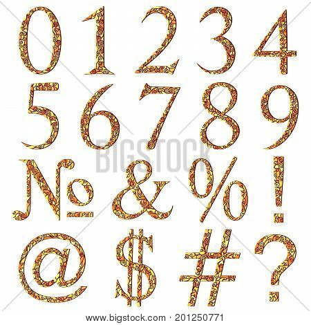 Set of yellow swirl mosaic font with numeric figures and additional signs.