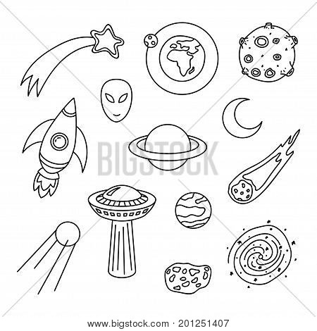 Collection of cosmic doodle elements. Contour symbols planets ufo moon spaceship meteor sputnik alien galaxy comet Vector set