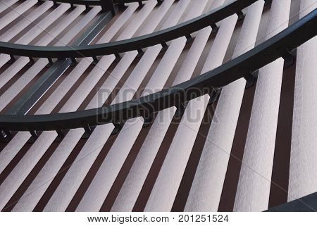 building interior with groove and curve structure