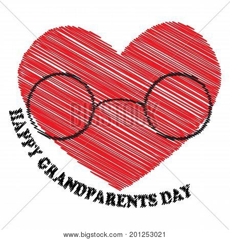 Vector illustration in embroidery style with the inscription Happy Grandparents Day with the heart and glasses for the National Grandparents Day. Illustration with phrase can be used to design of greeting cards and sites printing on T-shirts cups etc.