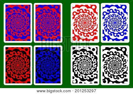 Playing Card Back Designs , Yin and yang - pattern ,vector set