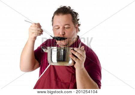 Taste.  Cook and soup. Funny fat guy.