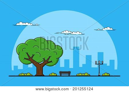 Picture of a big tree, bench and streetlight, parks and outdoors concept, thin line illustration