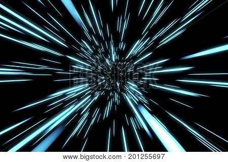 Abstract Of Warp Or Hyperspace Motion In Blue Star Trail. Exploding And Expanding Movement 3D Illust