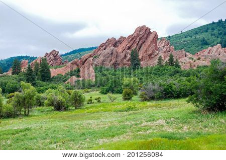meadows mountains and rock formations at roxborough state park colorado