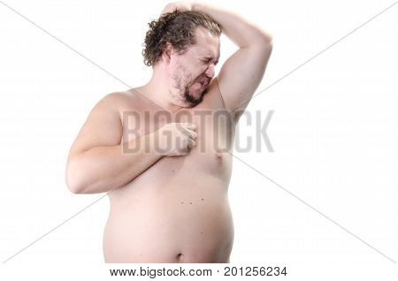 The smell of sweat. The overweight guy without a shirt. White background.