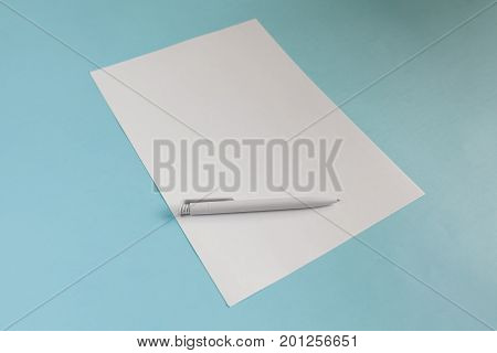 Blank Office Paper A4 Mock-Up on blue background