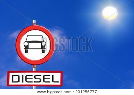 German traffic sign German traffic sign speak. Concept Diesel free zone environmental zone diesel prohibited diesel prohibition or driving ban