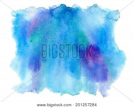 Blue and violet watery illustration. Abstract watercolor hand drawn image.Wet splash.White background.