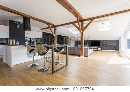 Bar Stools In Spacious Apartment
