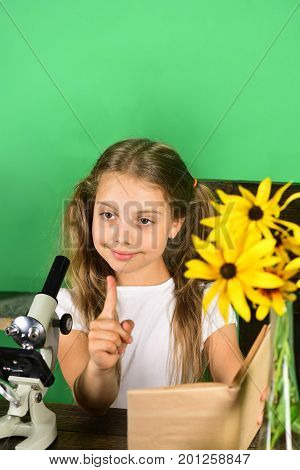 Back To School And Beauty Concept. Kid And Laboratory Supplies
