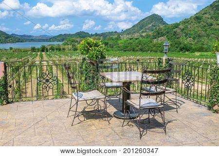 Dining table on the balcony.Amid the natural atmosphere