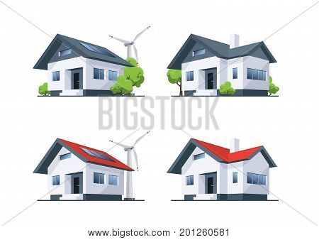 Four home buildings in perspective view. Family off-grid self sustainable roof house with solar panels and wind turbines. Vector illustration in cartoon style isolated on white background.