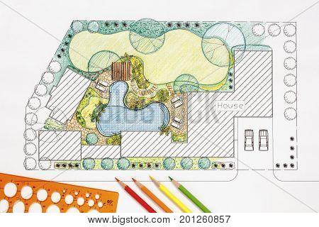 Landscape architect design backyard plan for villa