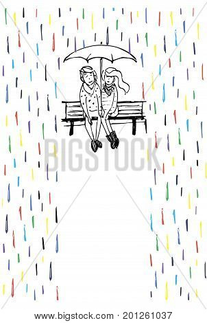 Rendezvous in the rain. Couple in love sitting on the bench and hide from the rain under an umbrella.