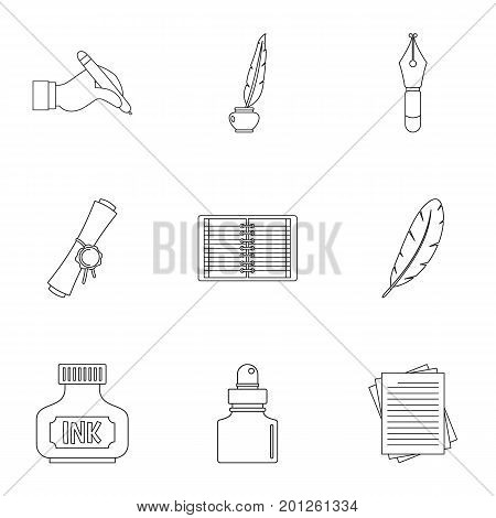 Writer pen icon set. Outline set of 9 writer pen vector icons for web isolated on white background