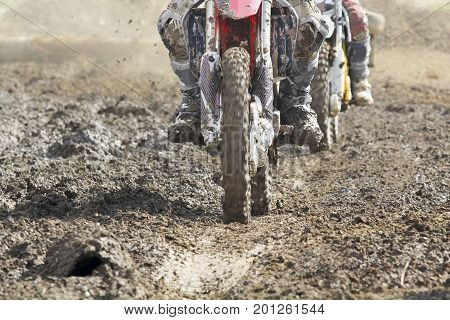 motocross enduro bike in dirt track on trip.