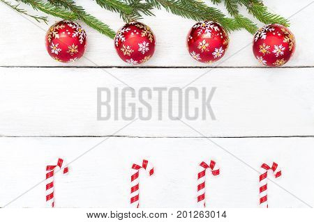 Christmas background. Green tree Christmas toys top view