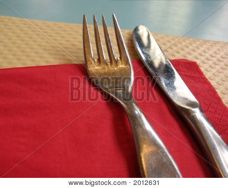 Fork And Knife Place Setting In Bistro