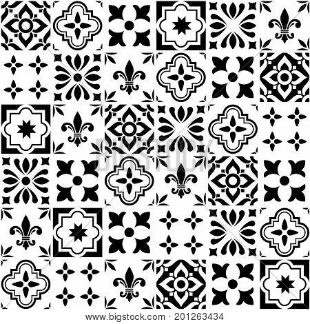 Geometric vector tile design, Portuguese or Spanish seamless black and white tiles, Azulejos pattern