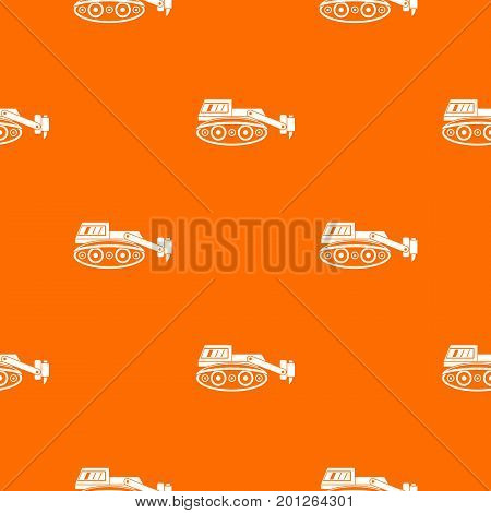 Excavator with hydraulic hammer pattern repeat seamless in orange color for any design. Vector geometric illustration
