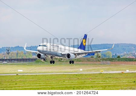 Airplane Of Lufthansa On Landing Approach, Airport Stuttgart, Germany