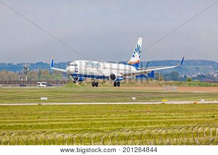Airplane From Sunexpress On Landing Approach, Airport Stuttgart, Germany