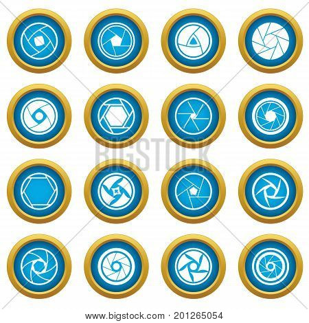 Photo diaphragm set. Simple illustration of 16 photo diaphragm vector icons blue circle set isolated on white for digital marketing