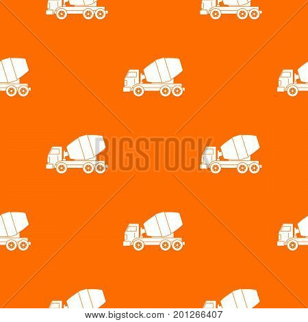 Truck concrete mixer pattern repeat seamless in orange color for any design. Vector geometric illustration