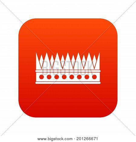 Regal crown icon digital red for any design isolated on white vector illustration