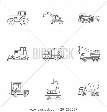 Building vehicle icon set. Outline set of 9 building vehicle vector icons for web isolated on white background