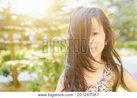 Close Up portrait young little rascals asian girl .