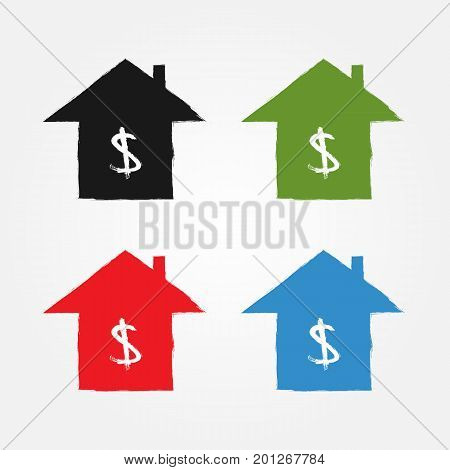 Icon house. Ink watercolor sketch grunge. Black green red blue symbols with white dollar silhouette. Vector illustration.