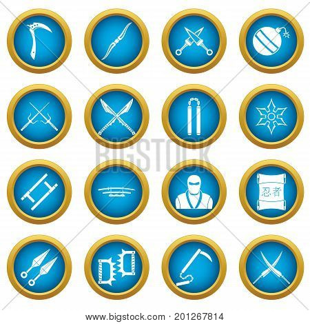 Ninja tools icons blue circle set isolated on white for digital marketing
