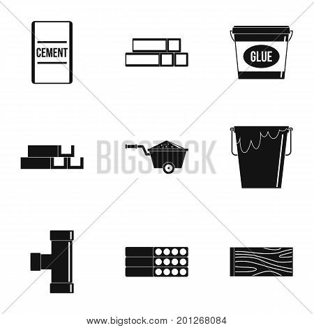 Construction material icon set. Simple set of 9 construction material vector icons for web isolated on white background