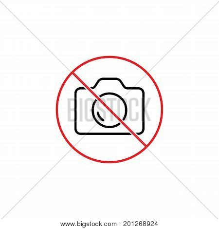 No Photo Prohibition Sign On White Background