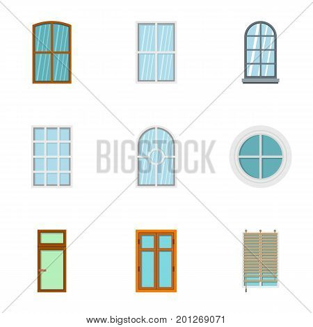 Apartment window icon set. Flat set of 9 apartment window vector icons for web isolated on white background