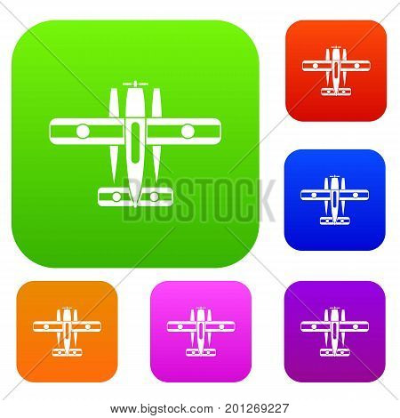 Ski equipped airplane set icon in different colors isolated vector illustration. Premium collection