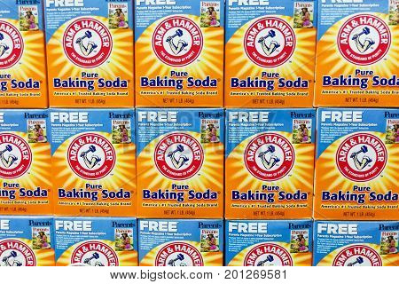 Kuala Lumpur, Malaysia, August 25, 2017: Arm & Hammer Baking Soda Is The Trademark Of Church & Dwigh